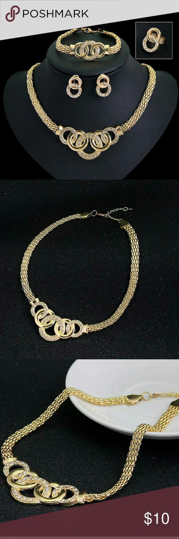 Gilded rhinestone eight laps european crystal handcuffs necklace