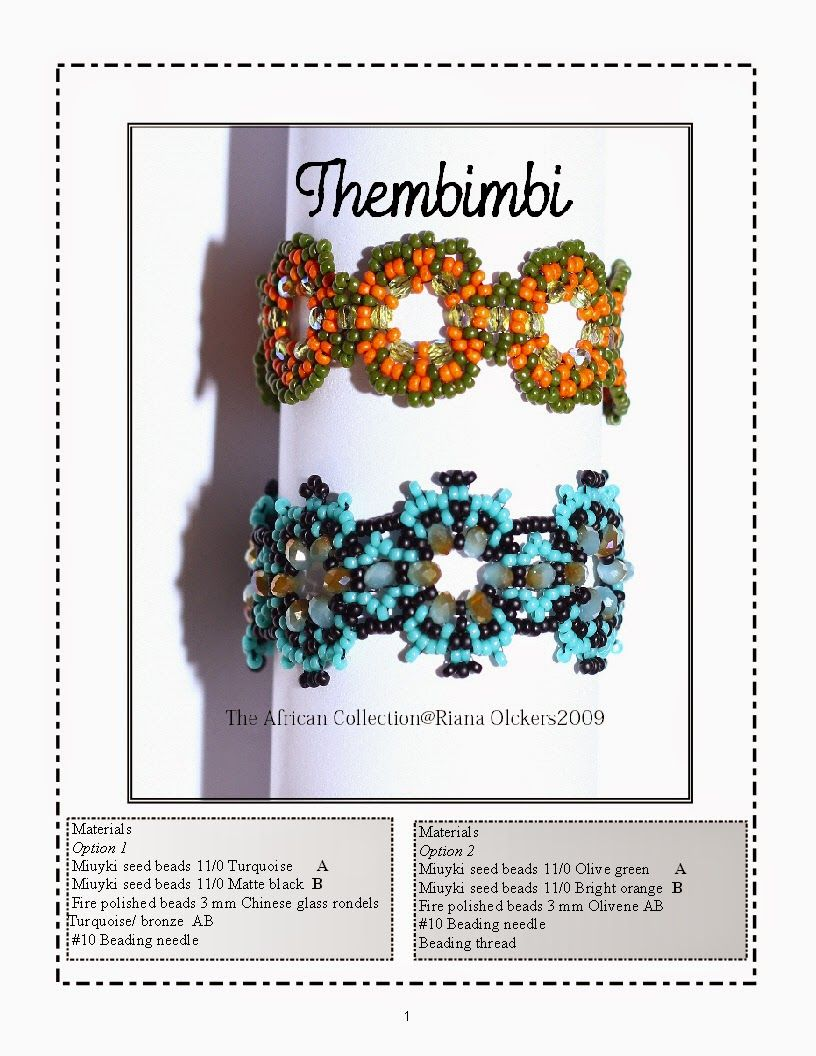 Riana Bootha Olckers: Pattern instructions. #Seed #Bead #Tutorials