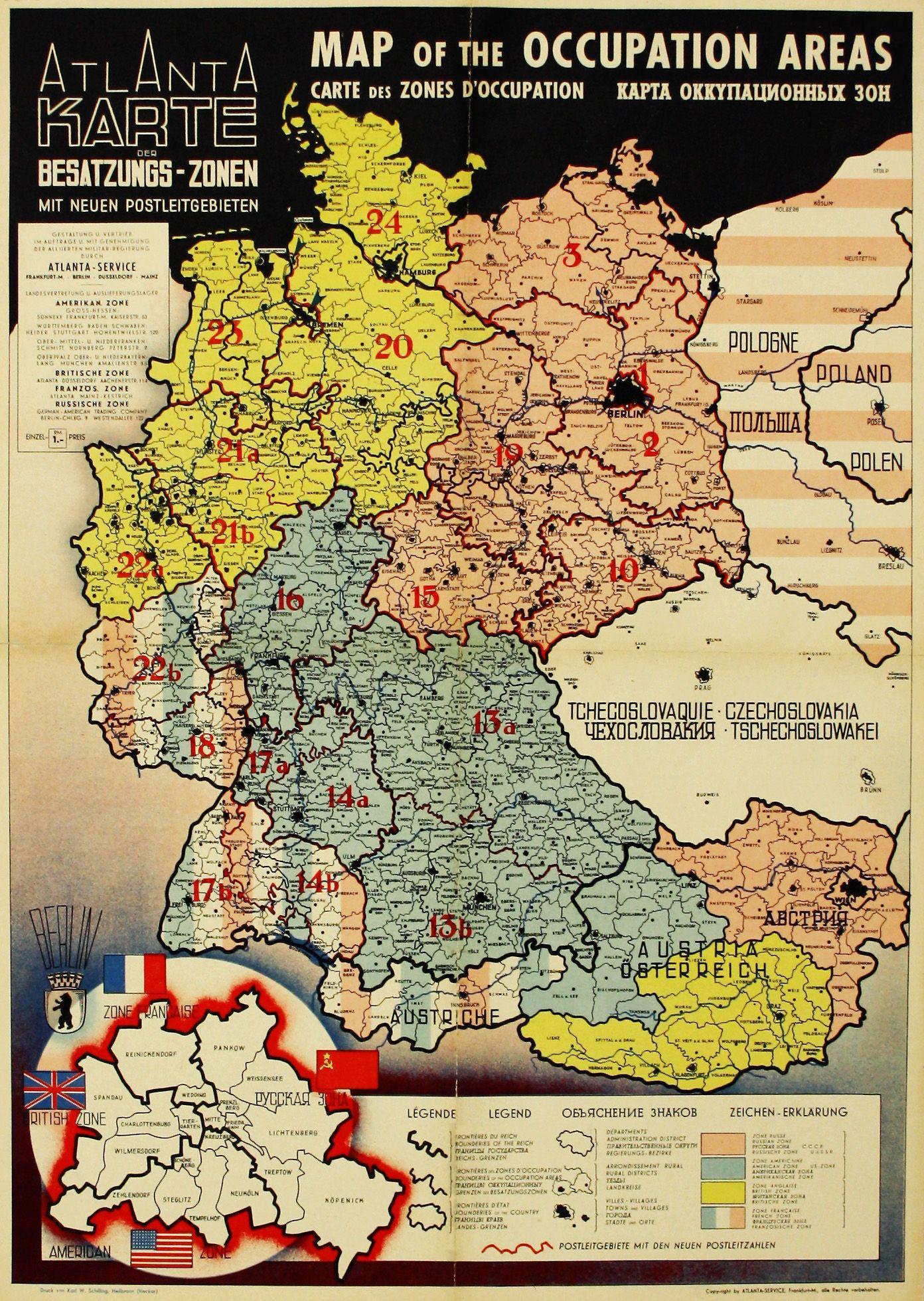 2 Weltkrieg Karte.Deutschland Osterreich Besatzungszonen Nach Dem Zweiten