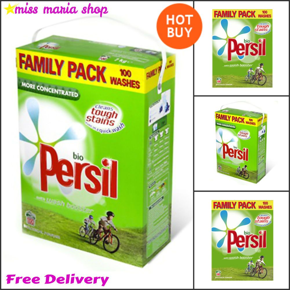 Persil Bio Washing Powder 100 Wash Laundry Detergent Large Family