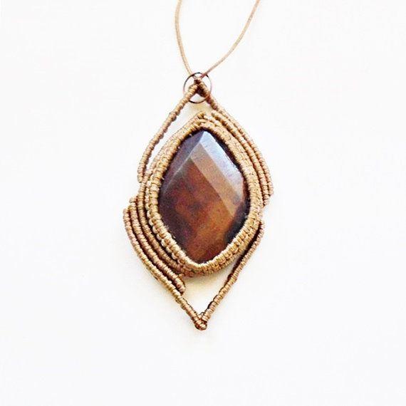 Macrame pendant with jasper Macrame gemstone by TheDancingCord