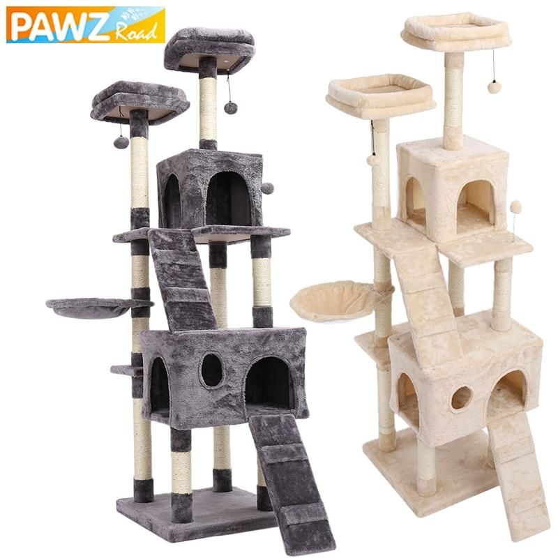 Pet Cats Tree House Condo Perch Entertainment Playground Stable Furniture For Cats Kittens Multi Level Tower For Large Ca Cat Tree House Pet Furniture Cat Tree