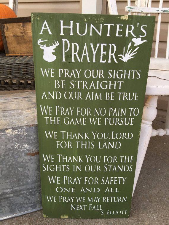 Rustic Wood Sign Hunting Decor Prayer Cabin Deer Wall Hanging Man Cave