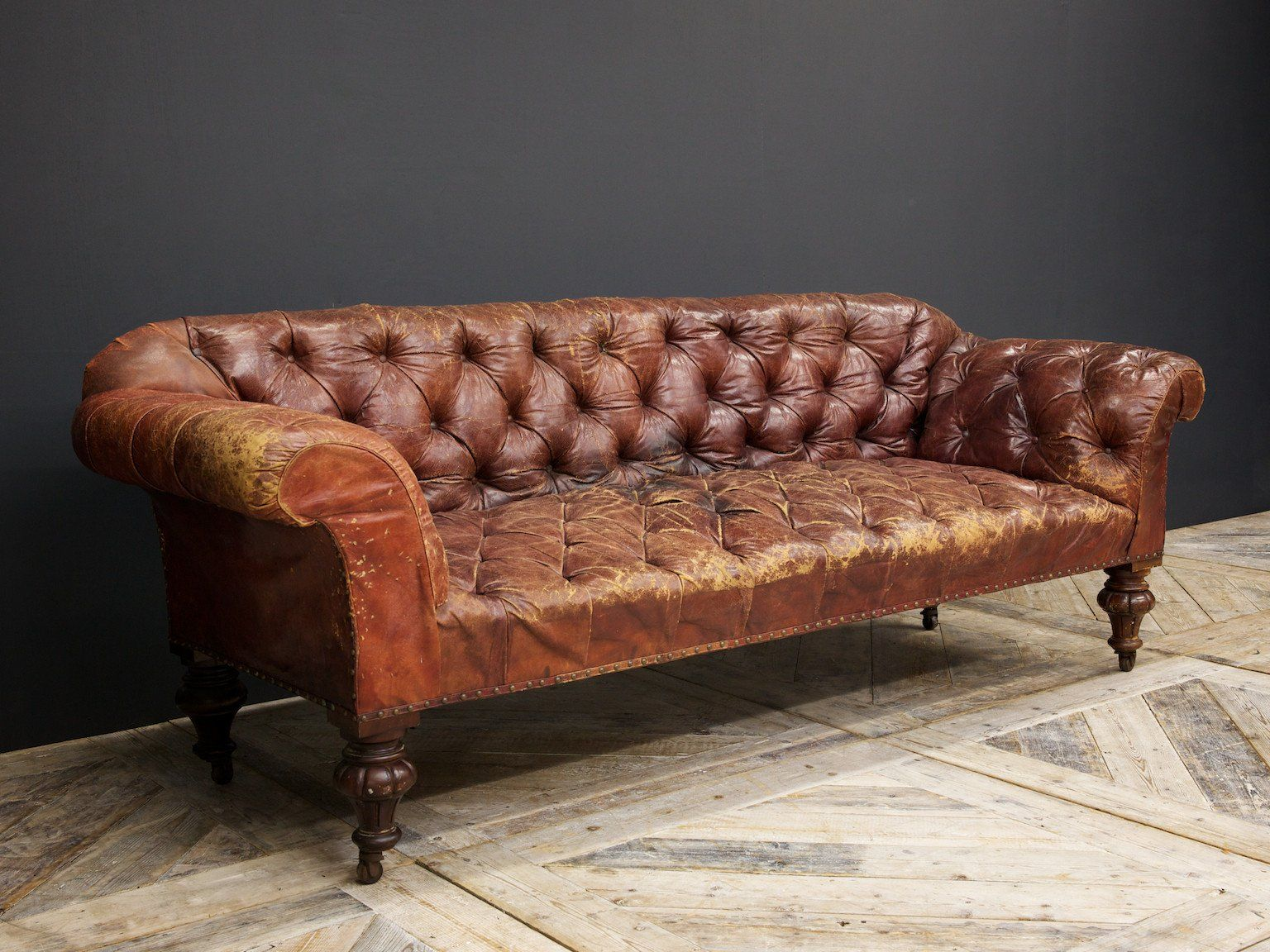 Raised On Turned And Carved Mahogany Legs. Chesterfield Sofas, Leather ...