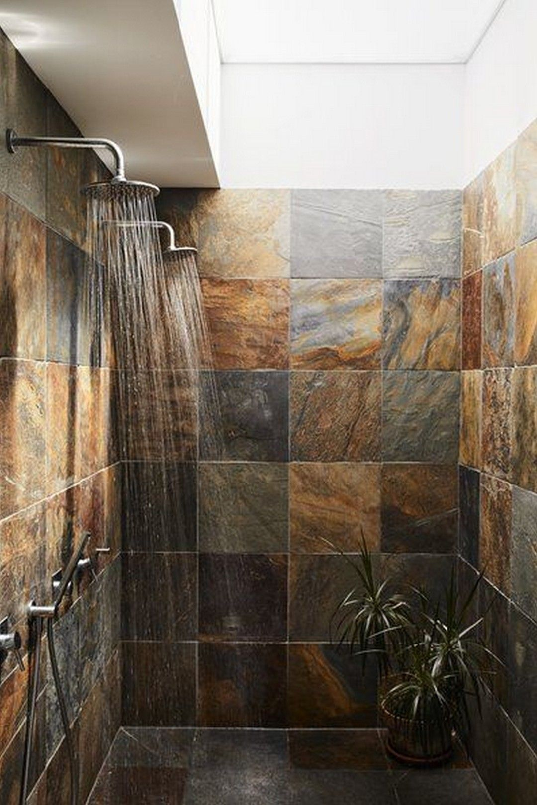 Bathroom Stone Wall and Tile Around the Tube Shower Ideas