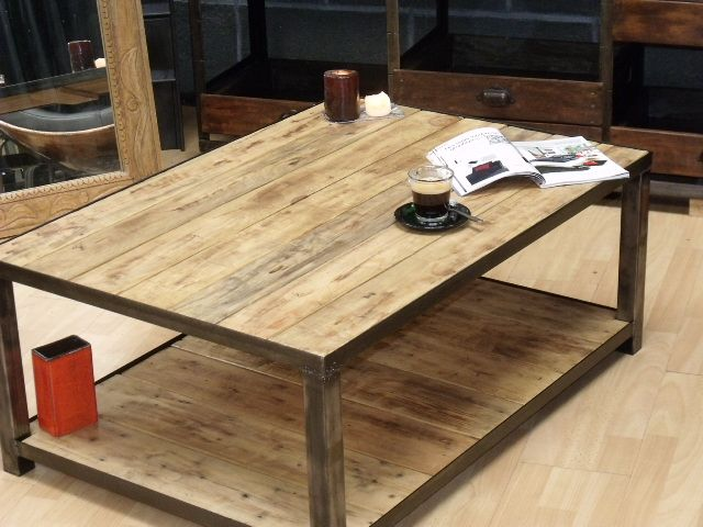 Table Basse Bois M Tal Sur Mesure D Co Pinterest