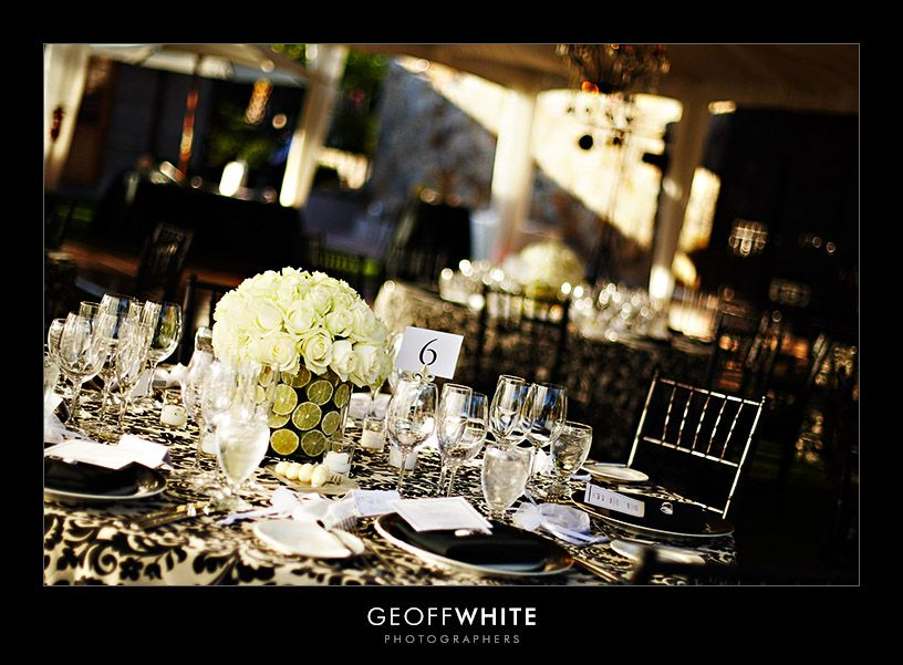 black and white wedding reception - Google Search : black and white wedding table setting - pezcame.com