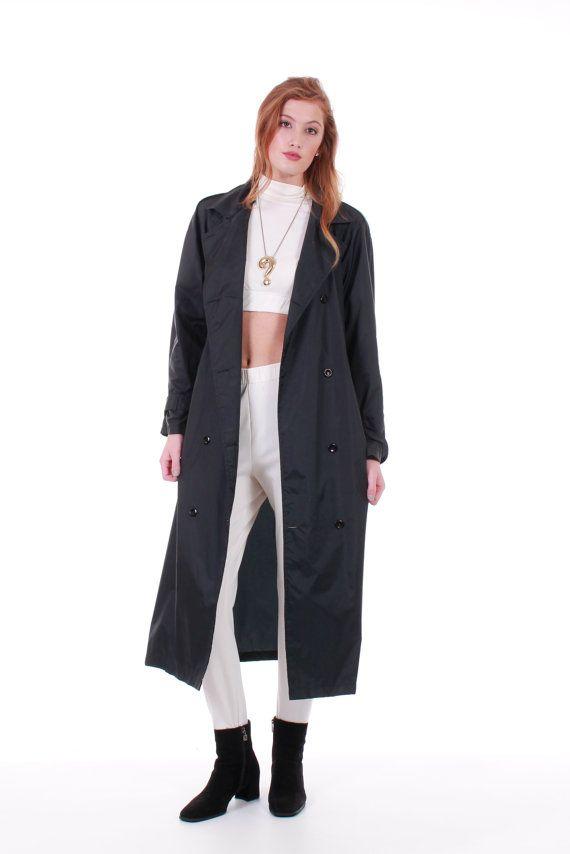 a26417f160d 90s Vintage Black Rain Coat Long Nylon Trench Raincoat Belted Lightweight  Minimalist Winter Clothing Women Size Large