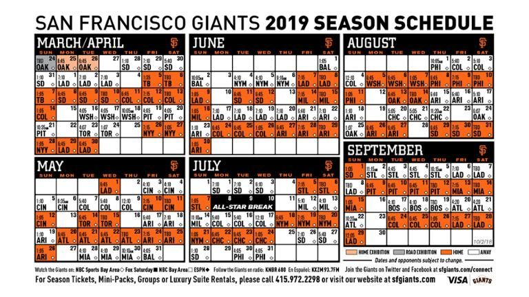 Sf Giants Schedule 2020 Printable.Sf Giants Schedule Kasa Immo