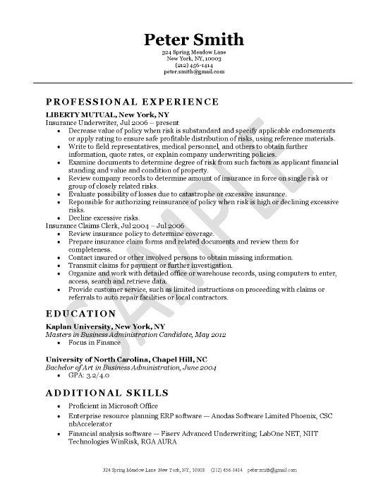 Insurance Underwriter Underwriting Job Resume Examples Resume