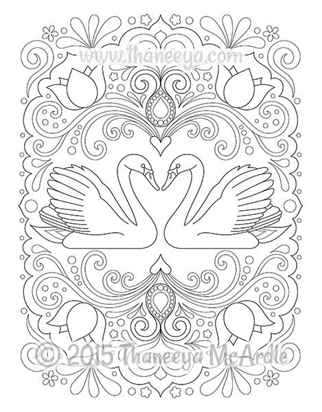 Follow Your Bliss Coloring Book Swans By Thaneeya