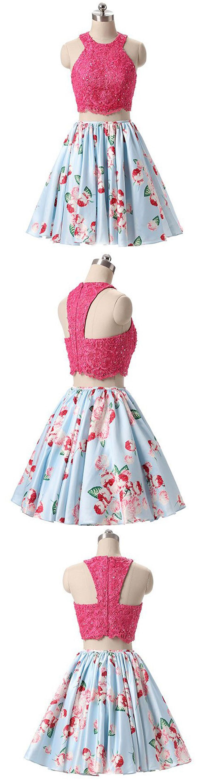 Two piece round neck short blue floral homecoming dress with beading