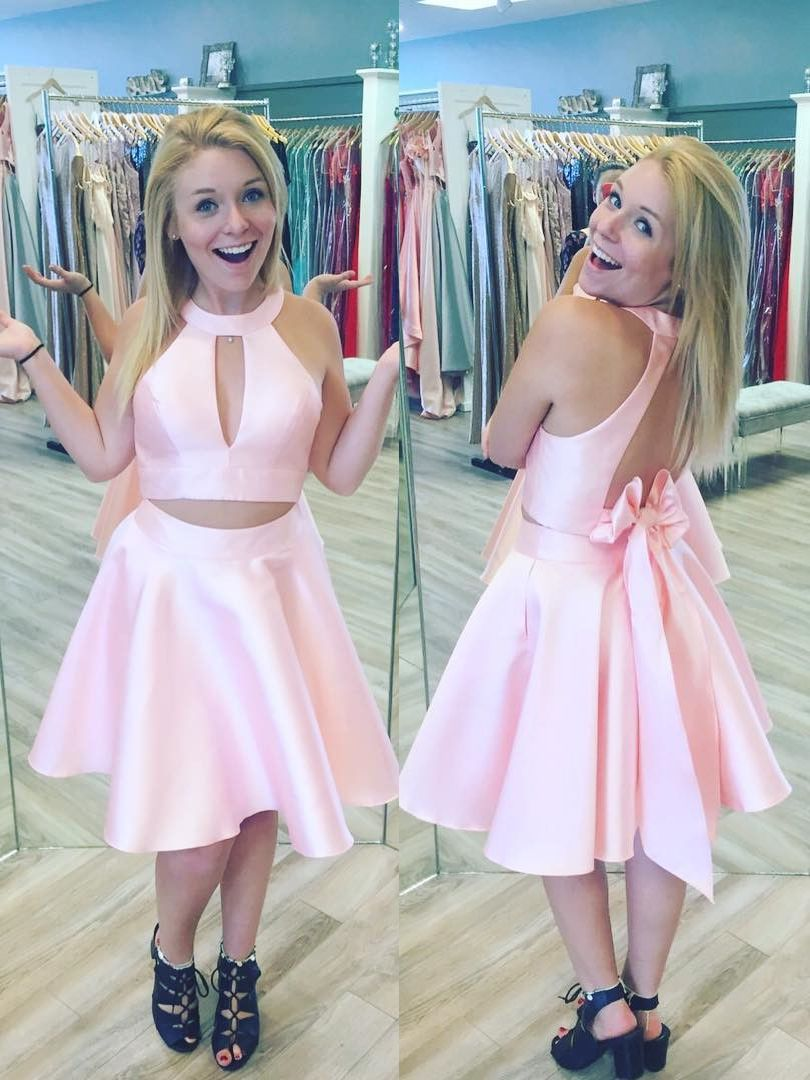 Princess short pink homecoming dress with key hole prom dres