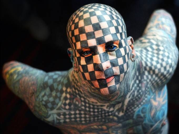 Matt Gone shows off his tattoos before the opening of the Expotattoo Venezuela 2013 on Jan. 24-27 in Caracas. #photography #photojournalism #tattoos #art #Venezuela