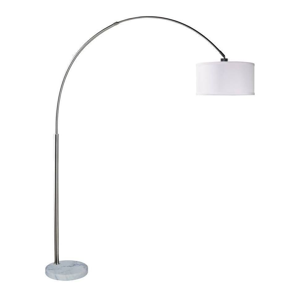 Q-Max Steel Adjustable Arching 81 Floor Lamp With White Extra Large Shade  (White) (Fabric)