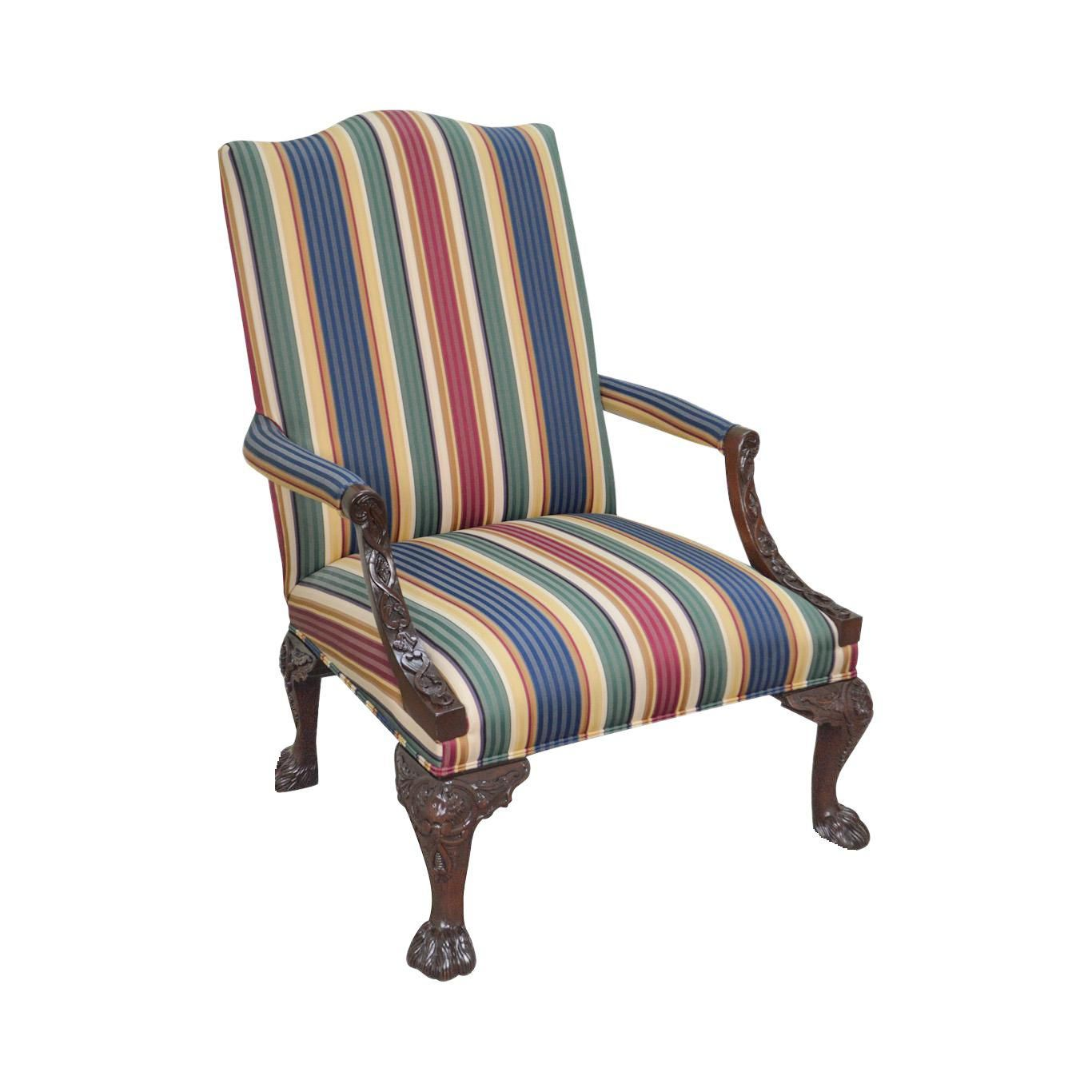 Henredon Historic Natchez Collection Georgian Style Carved Mahogany Library Arm Chair Henredon Armchair Henredon Furniture