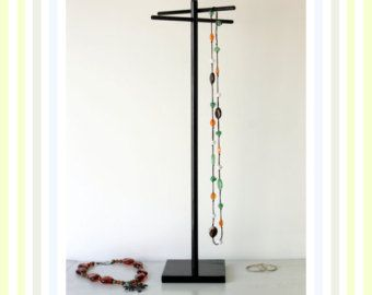 Tall Jewelry Organizer, Glossy Black Jewelry Rack, Long Necklace Tree,  Craft Show Display