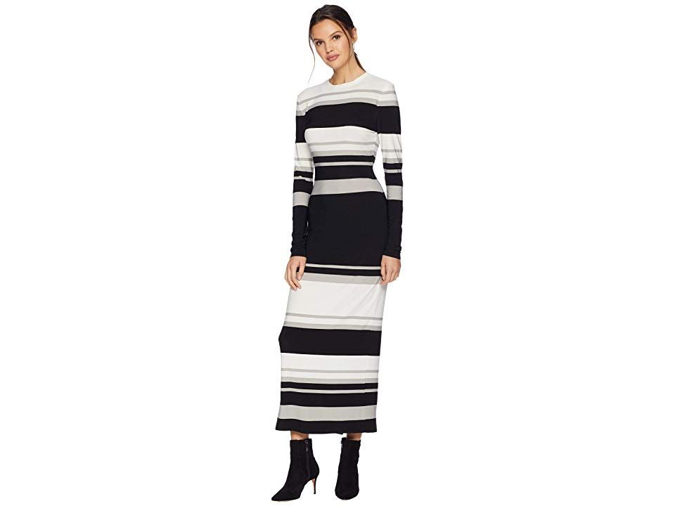 Kamalikulture By Norma Kamali Long Sleeve Crew Neck Gown Irregular Stripe Women S Dress The Kamalikulture Gown Is A Cl Clothes Pullover Designs Norma Kamali