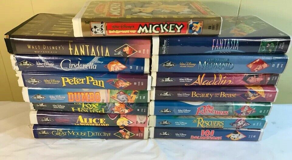 Disney Black Diamond Classics Vhs Lot Of 15 Masterpiece Fantasia Little Mermaid