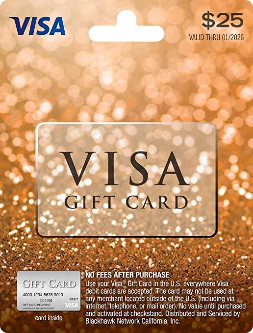 Amazon Com 25 Visa Gift Card Plus 3 95 Purchase Fee Gift Cards Walmart Gift Cards Win Walmart Gift Card Visa Gift Card