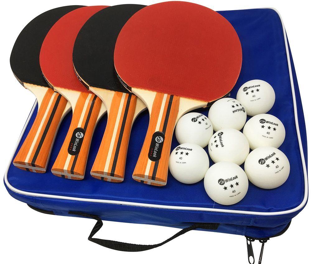 4 Pack Pro Ping Pong Paddle Set 4 Premium Table Tennis Rackets 8 Balls Case Bag Jpwinlook Table Tennis Racket Ping Pong Paddles Table Tennis Rubber