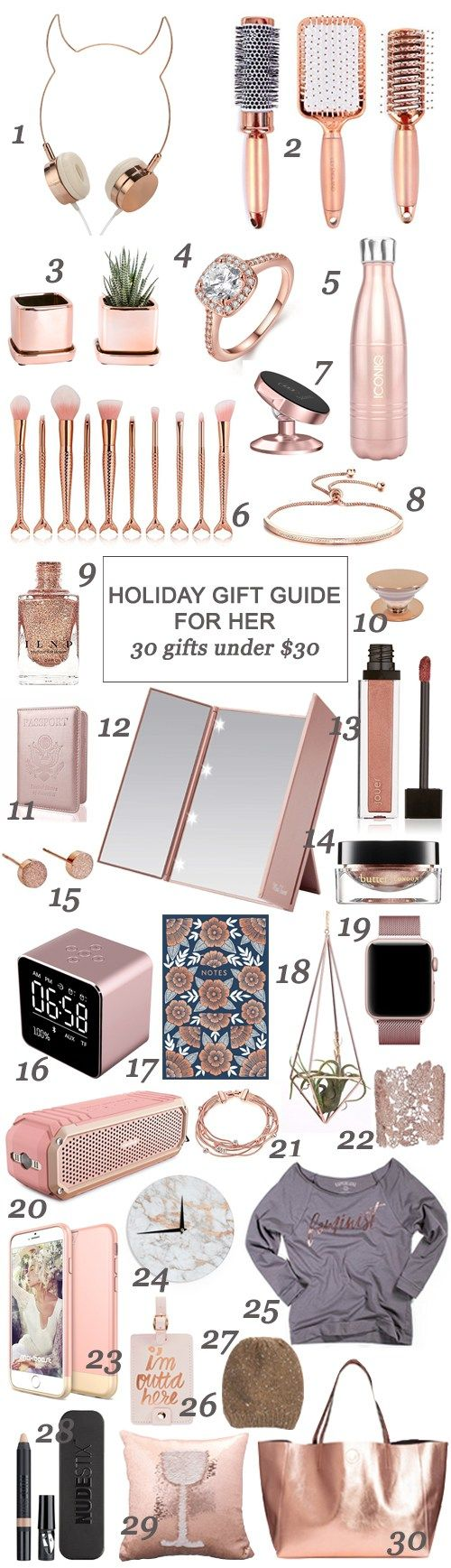 Holiday Gift Guide For Her 30 Gifts Under Christmas Forher Woman Rosegold Holidays Shopping
