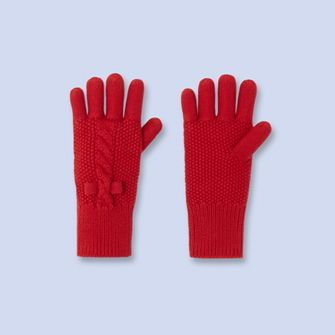 Cable detail gloves - Girl - TOMATO RED - Jacadi Paris