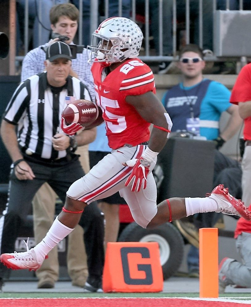 Ohio State Buckeyes Running Back Mike Weber 25 Leaps Over The