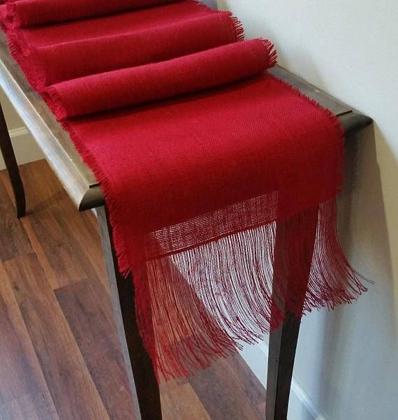 This Burlap Runner Is Custom Made To Your Dimensions And Features 1 2 Inch Fringe On Each Side 6 The Ends Shown Here In Our Premium Red