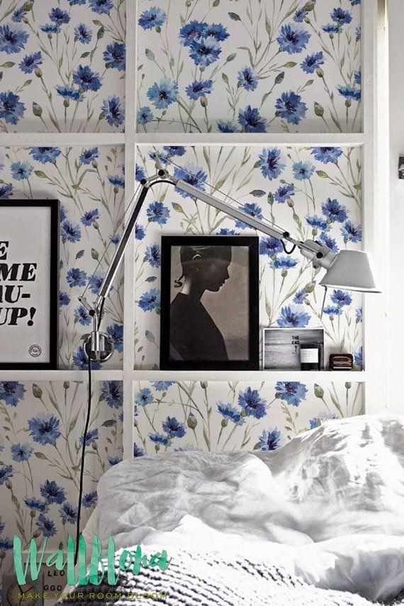 Blue Cornflower Pattern Wallpaper Removable Wallpaper Floral Etsy White Pattern Wallpaper Pattern Wallpaper Removable Wallpaper