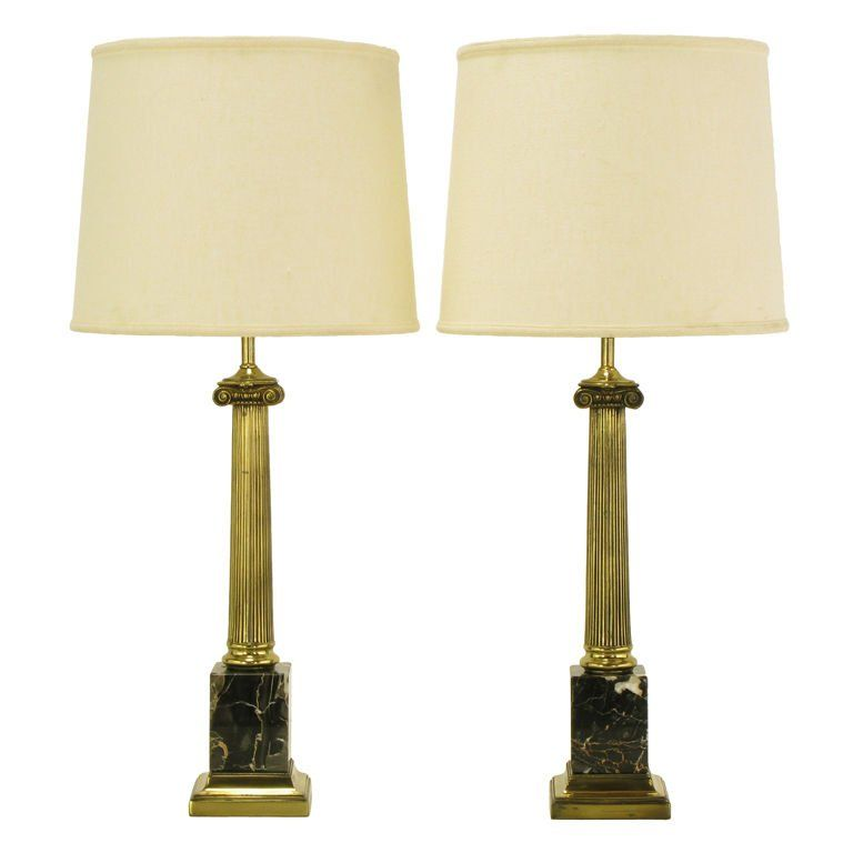 Pair Brass And Black Portoro Marble Ionic Column Table Lamps For Sale At  1stdibs
