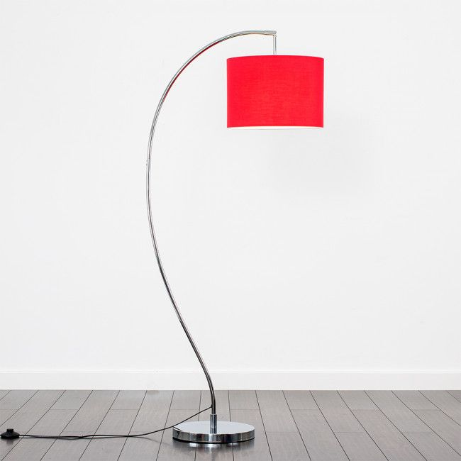 Archer Chrome Floor Lamp with Large Red Shade | Floor Lamps ...