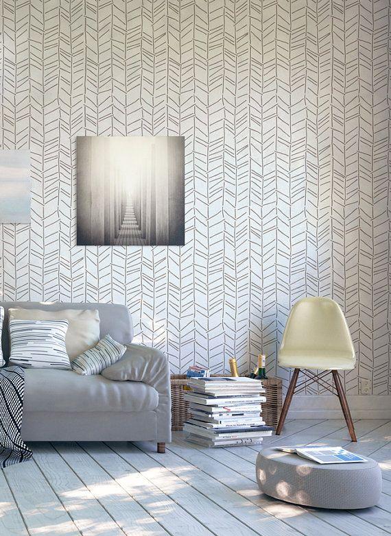 Hand Drawn Herringbone Large Wall Stencil Pattern Etsy Scandinavian Design Living Room Easy Diy Decor Simple Decor