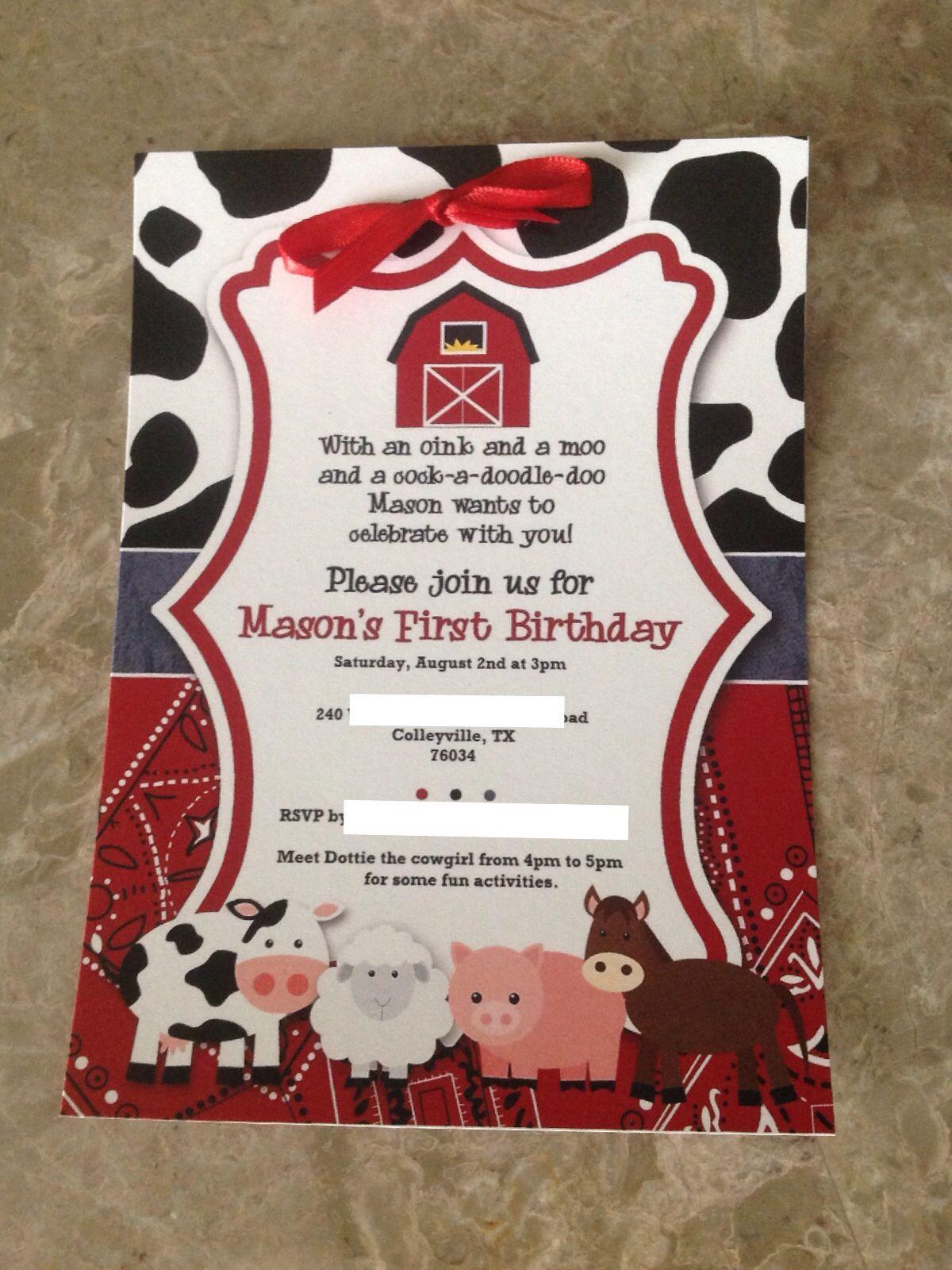 Barnyard / farm birthday party invitation Country Cowboy | Mason\'s ...