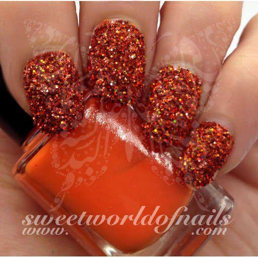 Nail Glitter Orange Sparkle Glitter Dust Powder Nail Art Glitter