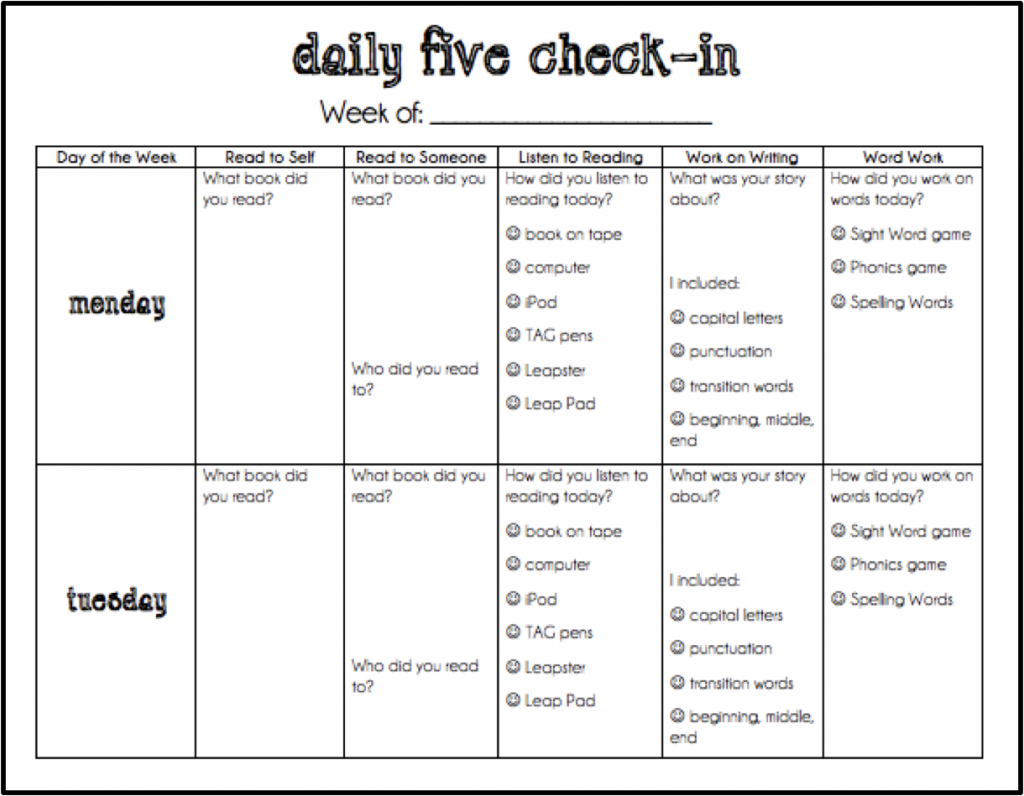 Daily 5 Record Chart In The Classroom