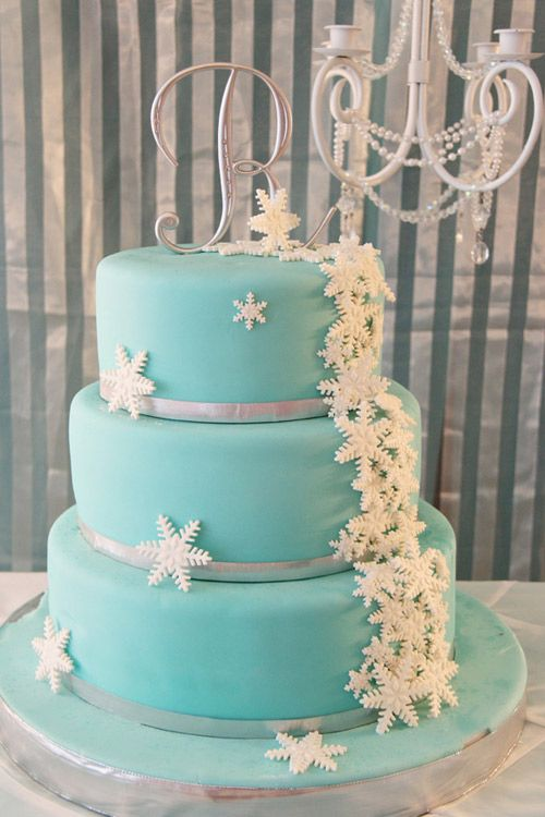 Three Tier Tiffany Blue Cake With Silver Ribbon Trim And White Floral Fondant Accents