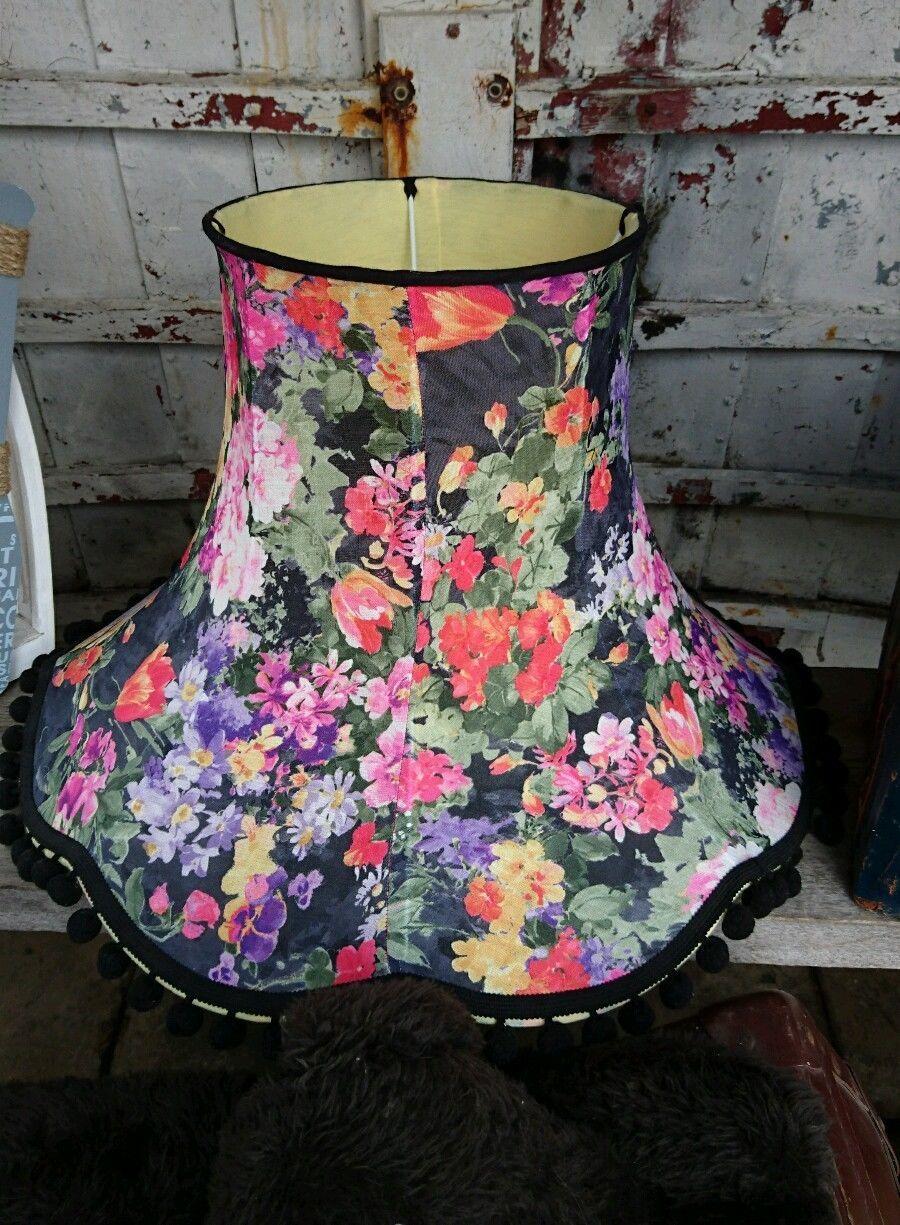 Large Floral Vintage Standard Lampshade Black Pompom Roses