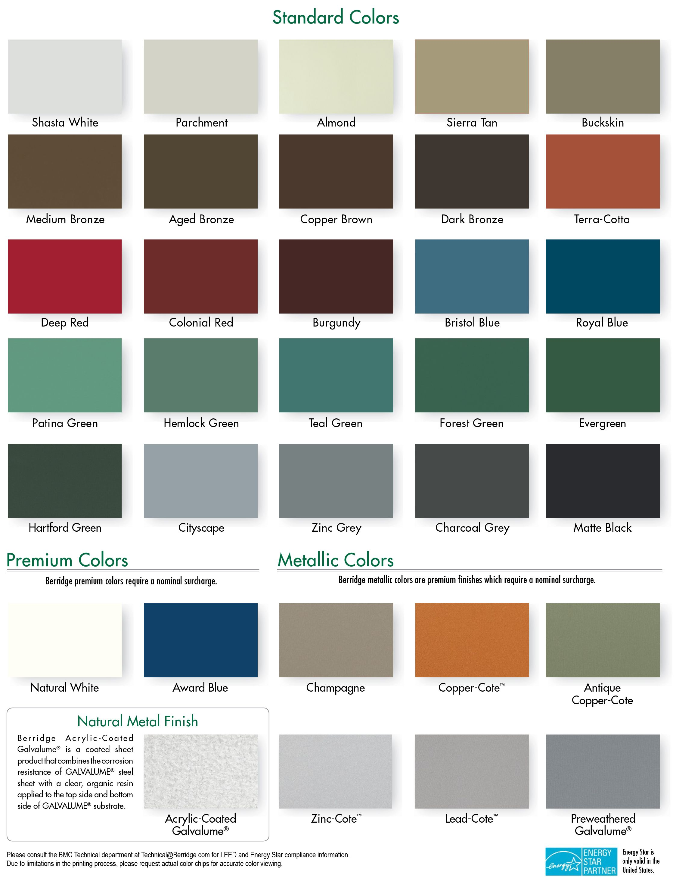 Best Berridge Cool Roofing Color Chart Metal Roof Colors 400 x 300