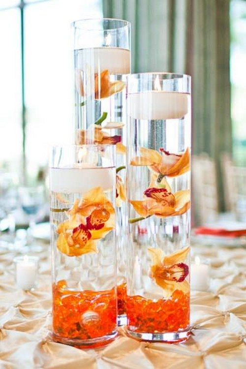 Orange Floating Wedding Centerpiece