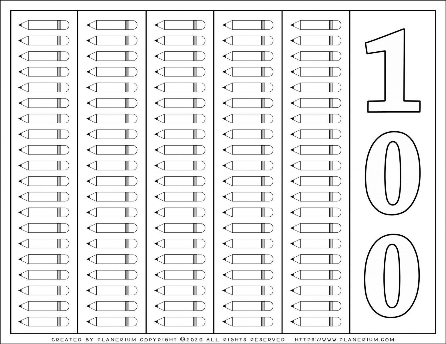 100 Days Of School Coloring Page 100 Pencils School Coloring