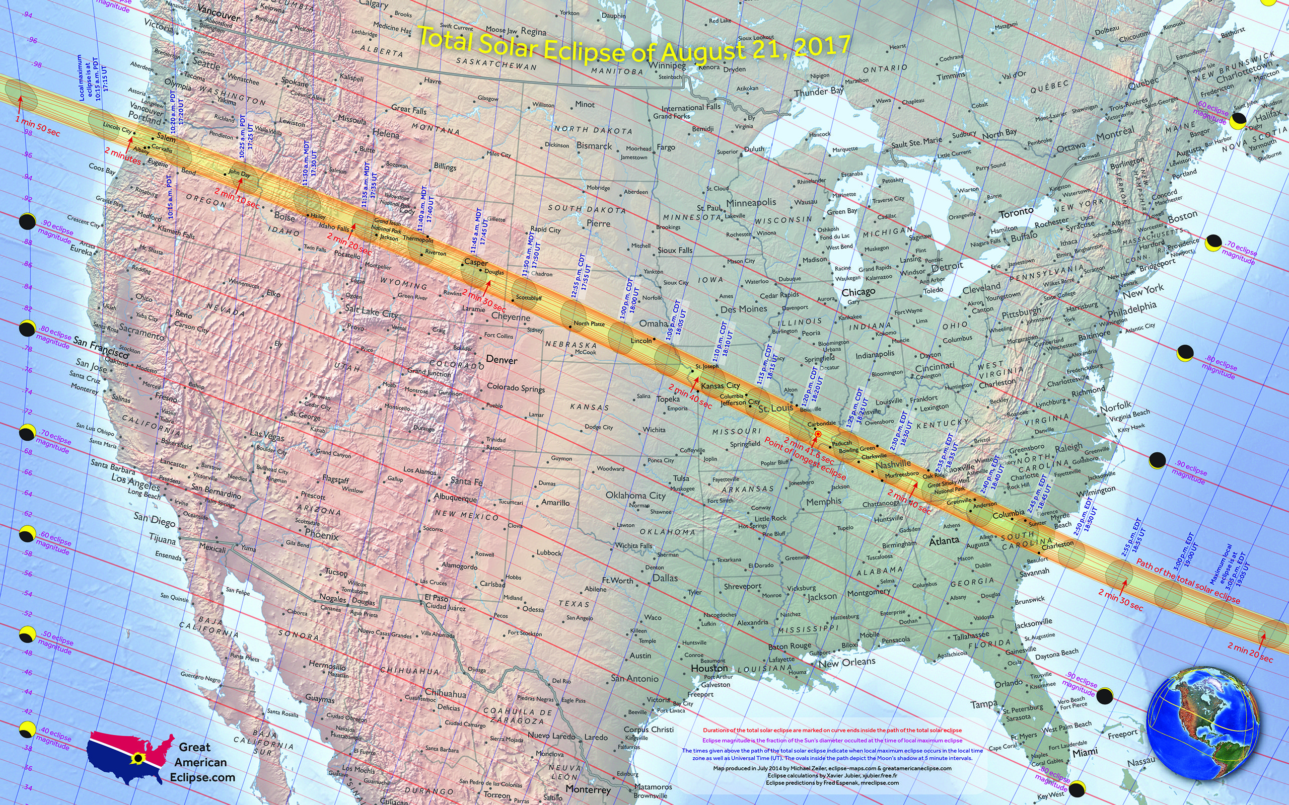 Map Of The Path Of The Total Solar Eclipse Over The USA On August - Us eclipse 2017 map