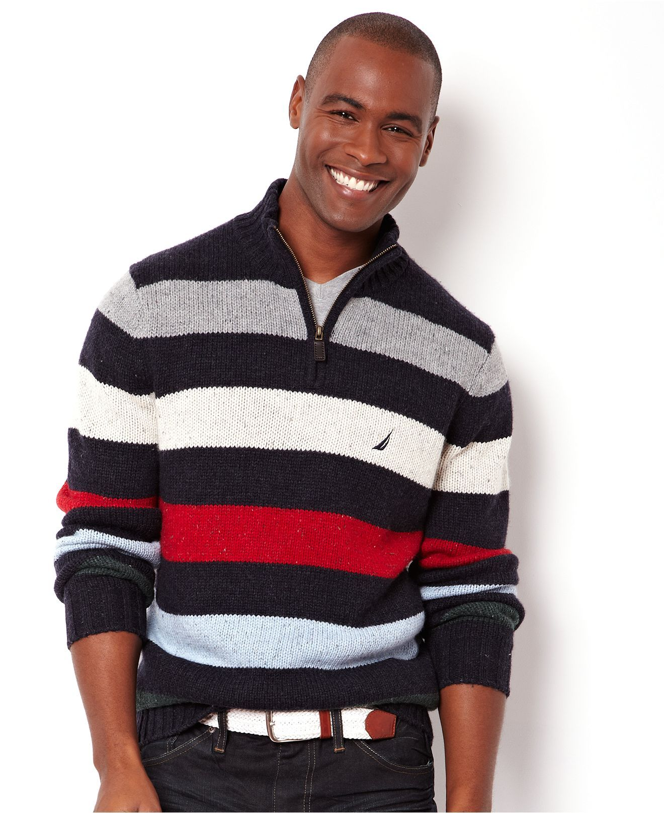 4cb908d4a Nautica Sweater, Multicolor Stripe Quarter Zip Sweater - Mens Sweaters -  Macy's