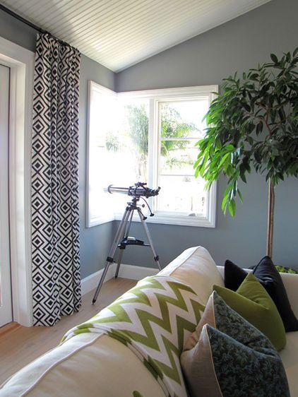 Blue Grey Walls Geometric Curtain Living Room Orange Living Room Color Living Room Color Schemes