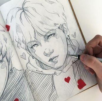 Pin By Bts Fan Page On Idei Dlya Sketchbuka Bts Drawings Sketch Book Kpop Drawings