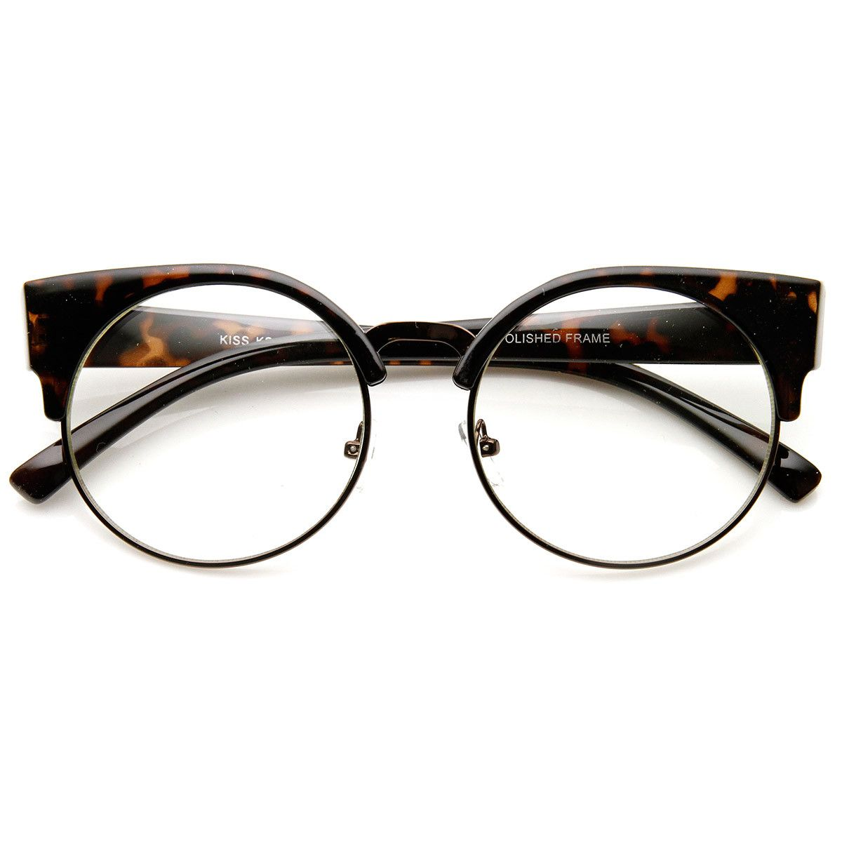 76d89e513488 Unique round half frame that features high pointed temples creating an  elegant cat eye silhouette. Frame is made with an acetate brow and arms,  metal wire ...