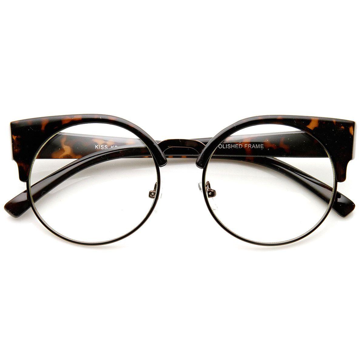 c38ceb816b5 Womens Half Frame Semi-Rimless Clear Lens Cat eye Round Glasses ...