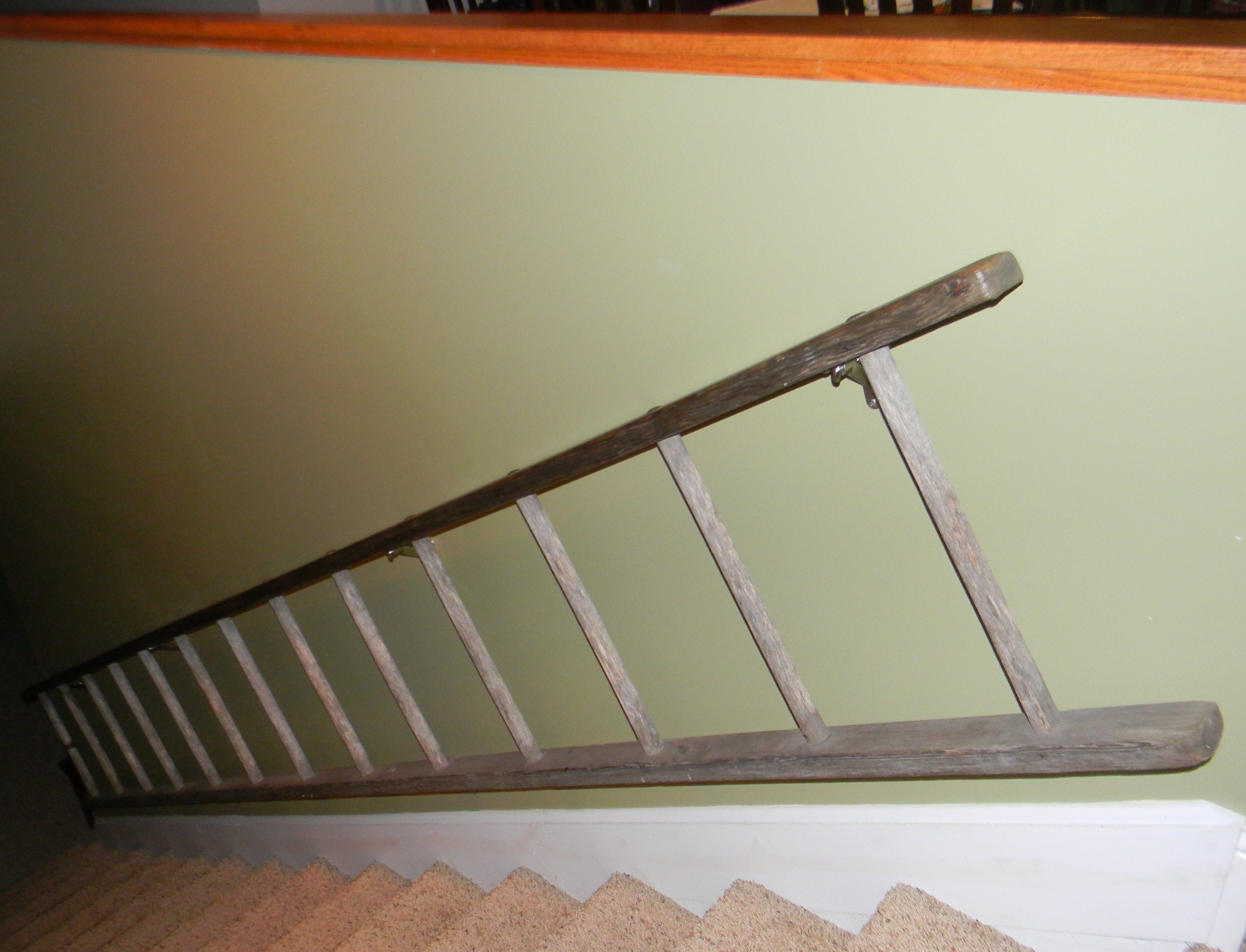 Use An Old Ladder The Size Of Your Stairway Secure Top And Bottom Of Ladder  With. Railing IdeasStair ...