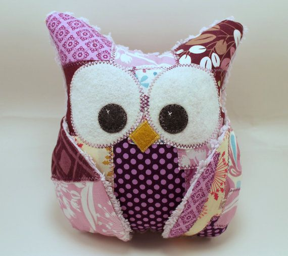 Plush Owl Pillow  patched owl chenille  by aprilfoss on Etsy, $34.00