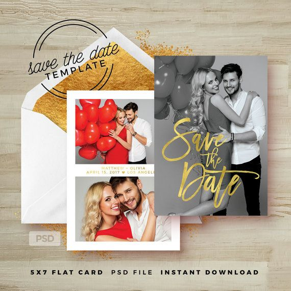 Save The Date Card Template  Gold Wedding Announcement Template
